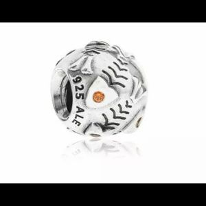 Pandora Fish Bone W/ Orange CZ Charm- Retired